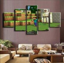 цена на Iron Golem Minecraft Game 5 Piece Home Decor Canvas Modern HD Print Wall Art For Living Room Painting Wall Art Painting Canvas