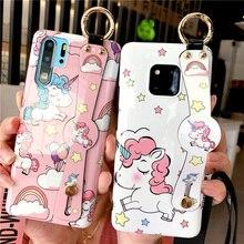 unicorn silicon case for huawei P30 P20 pro honor 10 mate 20 nova 4 3 cover cute cartoon wristband soft holder