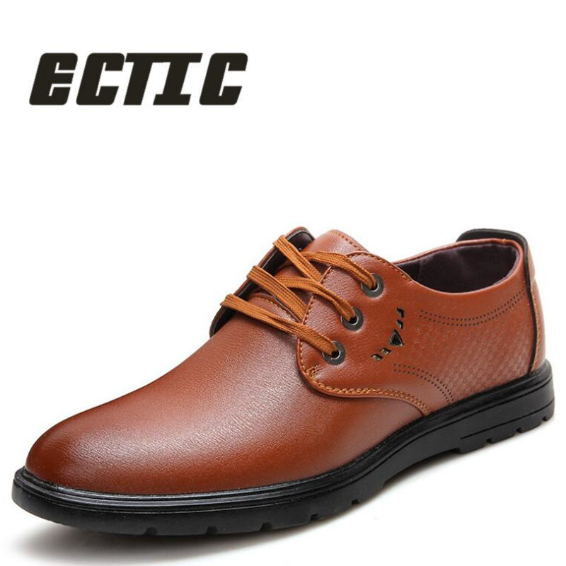 ECTIC 2018 Mature Man Fashion Flat Genuine Leather Shoes Men's Casual Shoes Men's Middle Aged Oxford Apartments Soft Sole BB-030