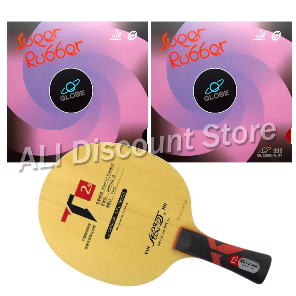 Galaxy YINHE T2s Table Tennis Blade With 2x Globe 999 Pips-In Rubber With Sponge for a PingPong Racket Shakehandlong handle FL galaxy yinhe t8s table tennis blade with 2x mercury ii rubber with sponge for a ping pong racket best control indoor sports