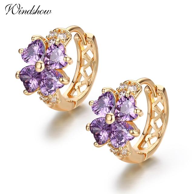 Huggie Hoop Earring Stones Purple Crystal INLcwAtE