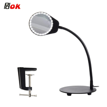 купить 10X 15X LED Magnifying Clamp Lamp Magnifier Glass with Light Desk Led Lamp 2 IN 1 For Crafts or Hobbies Magnifier дешево