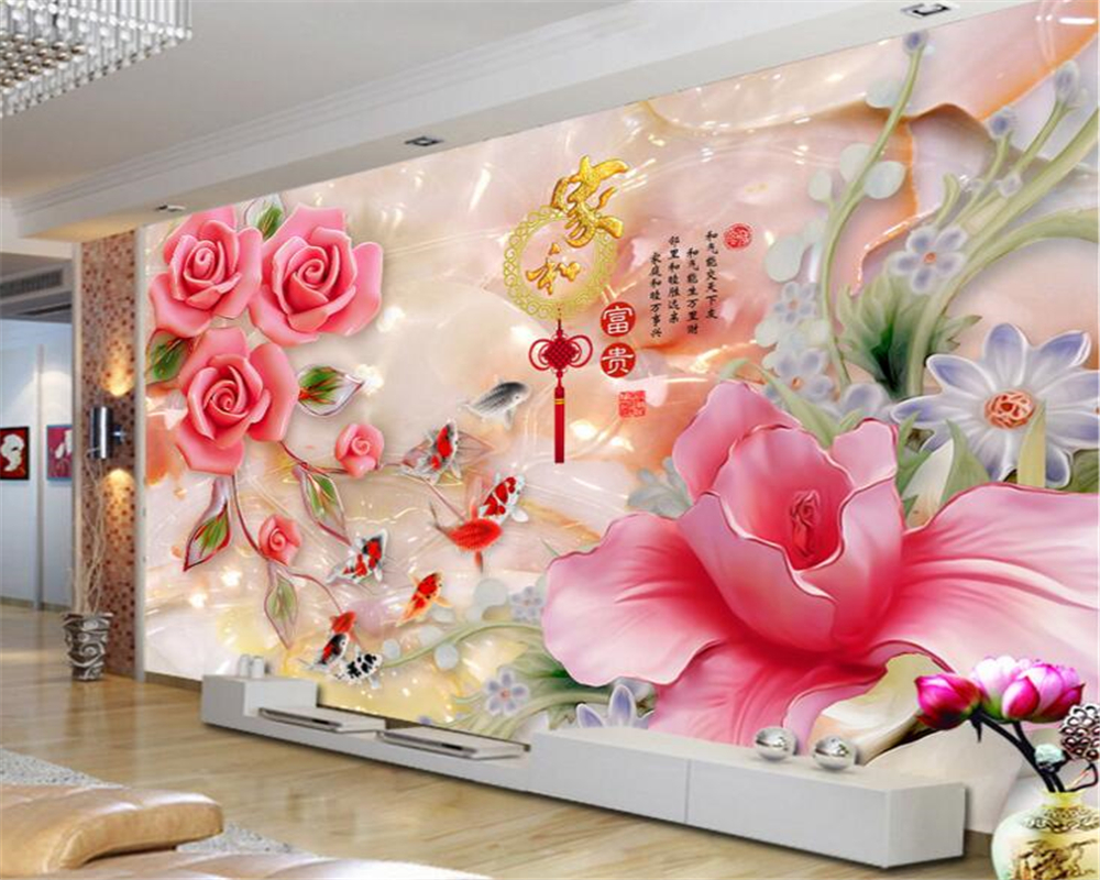 Beibehang Custom Any Size 3D Wallpaper Home And Rich Jade Carving Magnolia Rose Home Decoration Mural Wallpaper For Walls 3 D