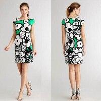 peony printing short sleeve Italian brand ladies fashion model silk jersey fabrics slim dress