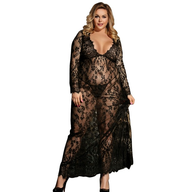 f3abdcbb5ae Sexy Dress Erotic Long Sleeve Sexy Costumes Babydoll Woman Long Transparent  Sexy Lace Lingerie Plus Size