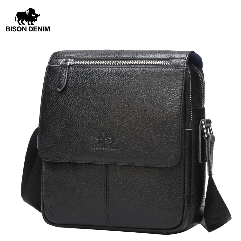 BISON DENIM Genuine Leather Men s Bag Brand Black Business Male Messenger bags Man Crossbody Bags