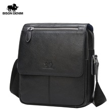 BISON DENIM Genuine Leather Men's Bag Brand Black Business Male Messenger bags Man Crossbody Bags For Men ipad N2532