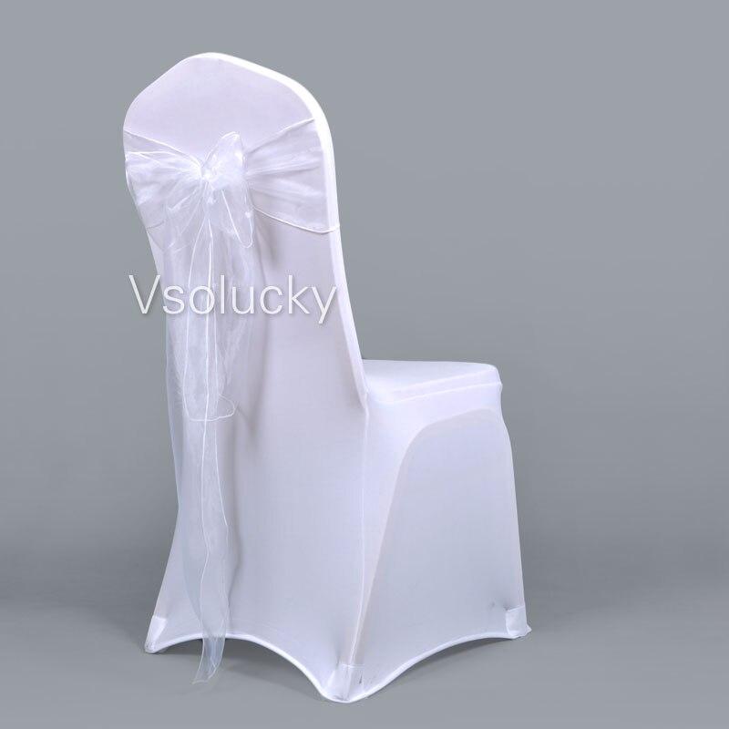 25 шт./лот, прозрачный чехол для стула из органзы с поясом и бантом, свадебные, вечерние, рождественские, на день рождения, для душа - Цвет: Белый