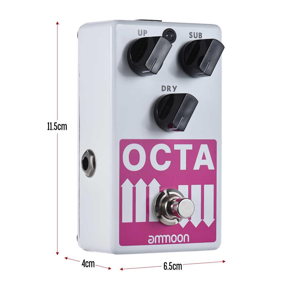 Ammoon OCTA elektro gitar Pedal hassas polifonik oktav jeneratörü gitar efekt Pedal destekler alt/UP Octave ve kuru sinyal