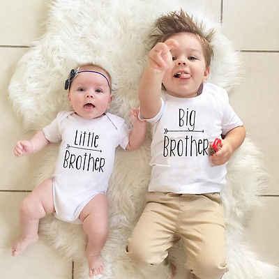 2017 nova moda manga curta o-pescoço pulôver moda quente irmão grande bebê meninos camiseta irmão mais novo macacão combinando roupas