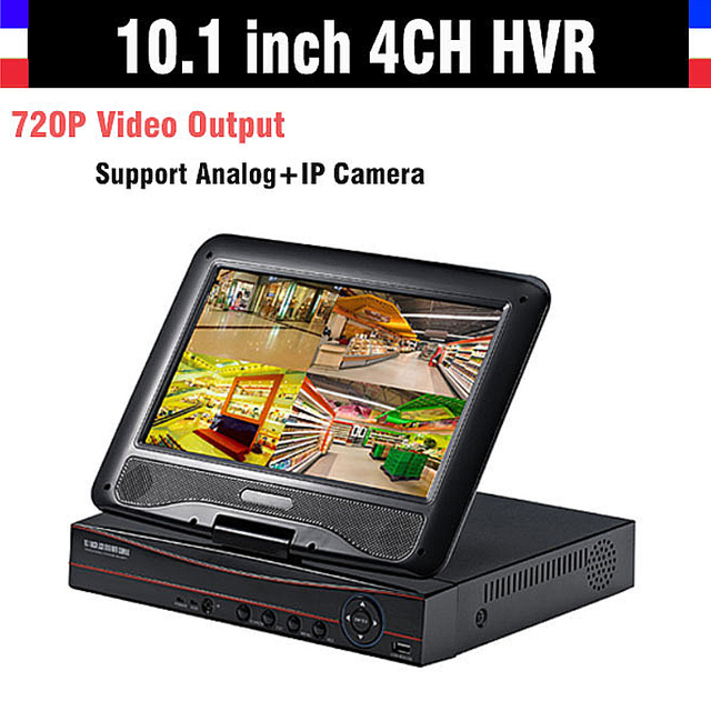 "New 10.1"" LCD Monitor CCTV 4CH 720P Recorder HDMI Output AHD DVR 4 channel HVR DVR NVR Support Analog IP Camera 3G WIFI"