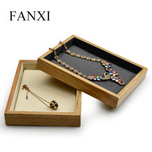 FANXI Wooden Jewellry Display Tray with Microfiber insert Pendant Ring Necklace Bracelet Exhibitior Stand for Showcase xmas gift fashion design beige velvet jewelry display for 31 pecs necklace tray pendant stand showcase boxing day sale