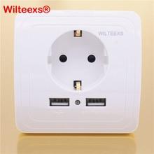 WILTEEXS Hot Dual Usb poort 5 V 2A Elektrische Lader Adapter EU Plug Socket Switch Power Dock Station Opladen Outlet Panel
