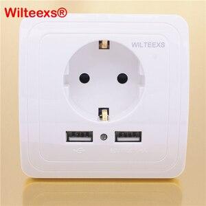 Image 1 - WILTEEXS Hot double Port USB 5V 2A chargeur mural électrique adaptateur prise ue interrupteur prise de courant Station daccueil chargeur panneau de prise