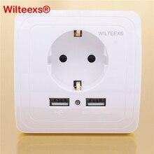 Электрический Настенный адаптер WILTEEXS с двойным USB портом 5 в 2 А, розетка европейского стандарта, выключатель питания, док станция, панель зарядного устройства