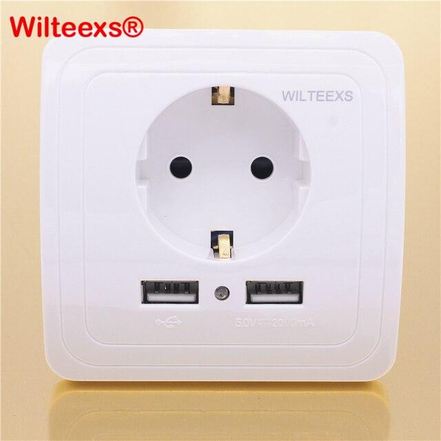 Wilteexs carregador de parede elétrico, porta usb dupla quente 5v 2a, adaptador de tomada da ue, doca de carregamento painel de saída