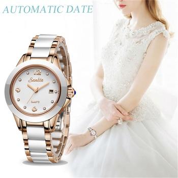 Watch Women Fashion Watch Luxury Brand Gift Quartz Watch Lady Ceramics Stainless Steel Womens Watches Relogio Feminino Clock