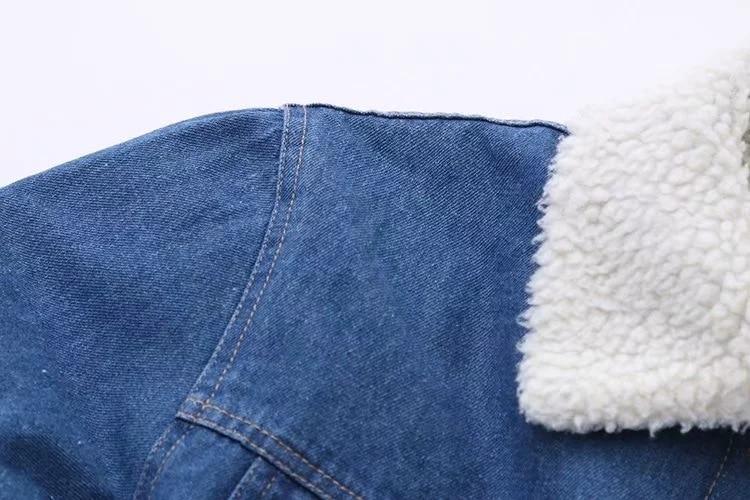 Collège Mignon Agneau Vent Manteau Denim Chat Femelle Brodé Hiver Département Bleu Japonais Sen Nouveau Cachemire Automne Fille 708xYg1gq