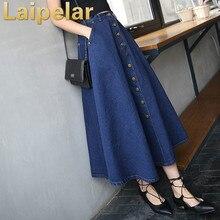 2018 Fashion Korean Preppy Style Denim Women Solid Color Long Skirt High Waist Feminina Big Hem Casual Zipper Button Jean Skirts preppy style solid color denim women s overalls