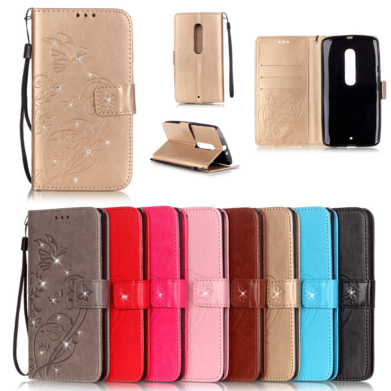 Luxury Bling Book Style Leather Flip Butterfly Fundas <font><b>Case</b></font> Cover For Coque <font><b>Motorola</b></font> <font><b>Moto</b></font> X Play <font><b>E2</b></font> G3 G4 Phone Bags+Strap Capa image