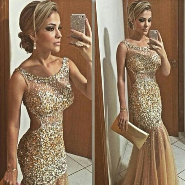 Backless Champagne Mermaid Prom Dresses 2016 New Fashion Gold Beading  Sparkly Party Dress Long Prom Gown 41bd7e213c68