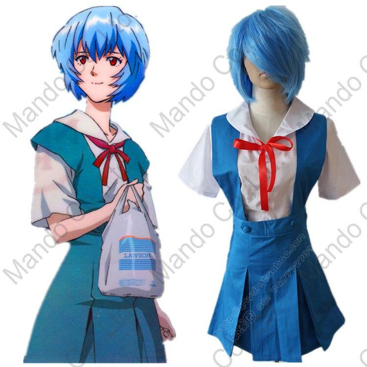Аниме Евангелион EVA Ayanami Rei Лолита голубое платье Костюмы для косплея Хэллоуин женщины наряд костюм из 3 предметов комплект