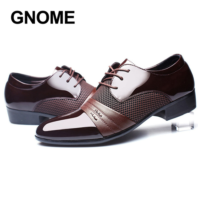 0c39d936426 GNOME Classical Mens Dress Shoes Luxury Male Business Oxfords Black Brown  Wine Pointed Toe Formal Leather Shoes Men Big Size 48