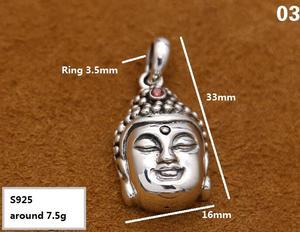 Image 3 - Handcrafted 925 Silver Buddha Pendant Necklace 925 sterling Tibetan Buddha Head Amulet Pendant Good Luck Buddha Statue Amulet