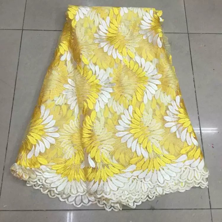 jk1KAfrican High Quality Yellow French Net Lace Swiss Voile Lace Fabric For dress Party 5yd lot