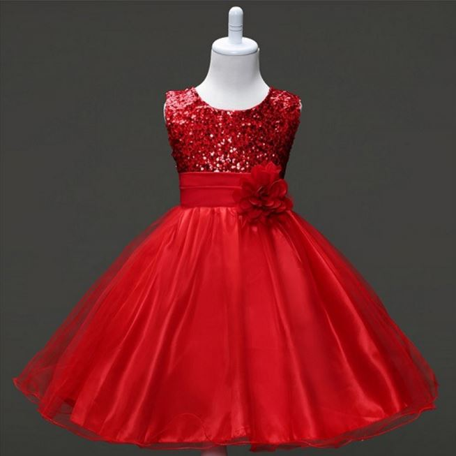 3-12Y Girls Clothes Girl Dress Purple Blue Red Dress Princess Sress Roupas Infantis Menina Flower Girls Sequined dresses YAA041