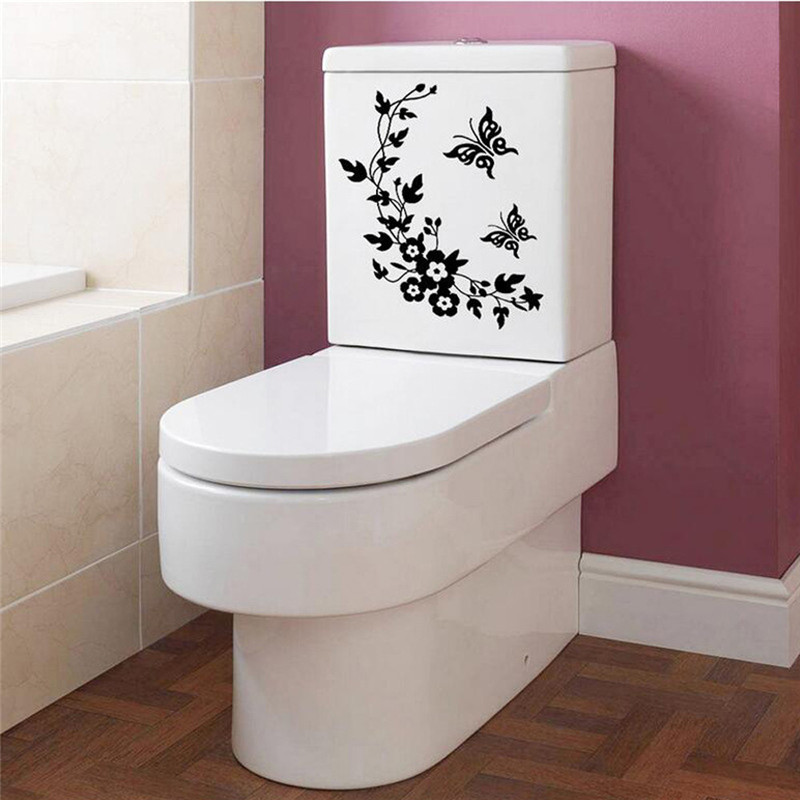 Bathroom Toilet Stickers Toilet Black Flowers print Grand Removable Mural Decal Art-Flowers And Vine Kitchen Toilet Sticker