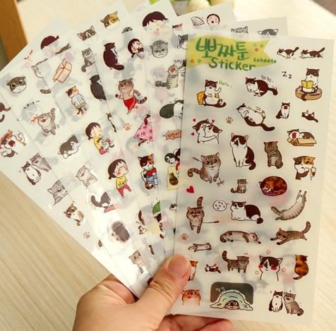 6pcs/set Kawaii Cat Series PVC Stickers Scrapbooking Sticker Label (tt-1624)