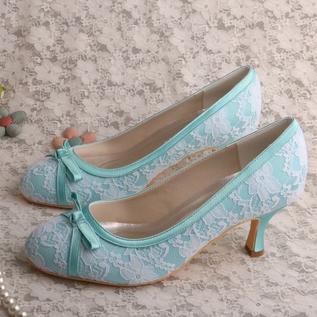 Wedopus Mid Heel Mint Green Closed Toe Women Wedding Shoes Bowtie Party  Prom Pumps 7c0fea91dad6