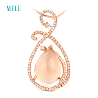 Rose Quarts Sterling Silver Pendant Natural Stone In Pears 10mm 15mm Lovely Pendant For Lovely Ladies