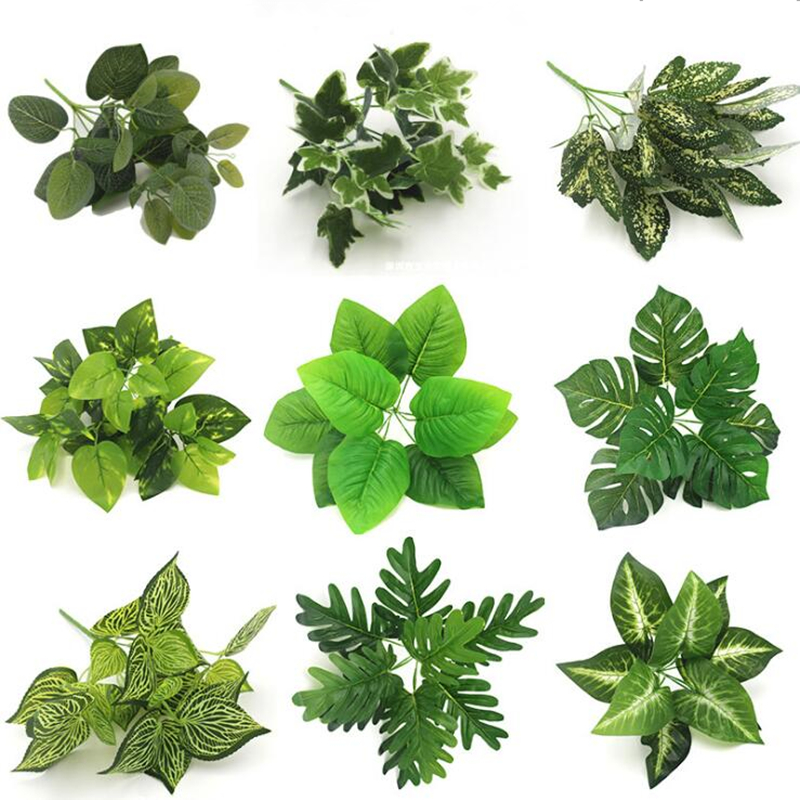 Artificial Plants Plastic Grass Artificial Turtle Leaves Wall Green Plant Accessories Wedding Decoration Potted Fake Flowers