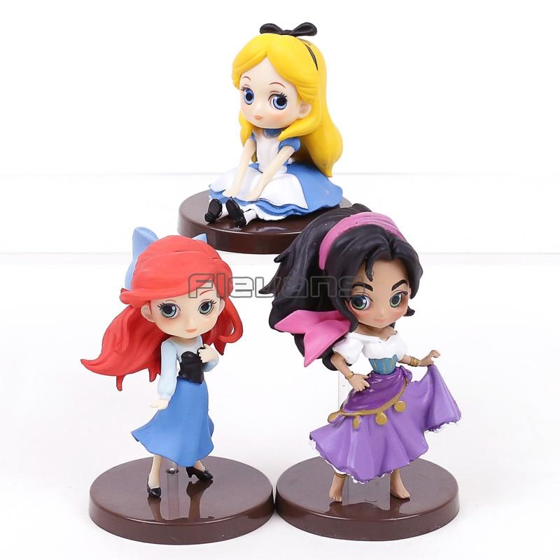 Q Posket Characters The Little Mermaid Ariel Alice in Wonderland Esmeralda PVC Figures Toys Princesses Dolls 3pcs/set