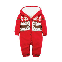 Thick Baby Warm Rompers Newborn Boys Girls Christmas Deer Plush Hooded Outwear Rompers Letter Jumpsuit Boy Girl Romper Clothe