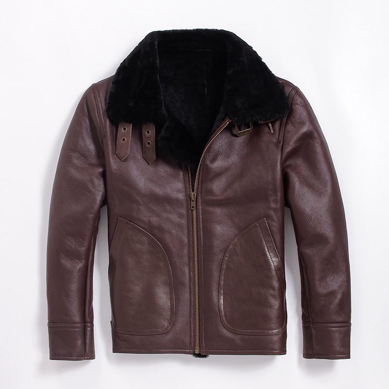 052be3048d54e Un Shearling Maschile Vera Giacca Pelle In Black Air Pelliccia Abbigliamento  Cappotto brown Collare Uomo Del ...