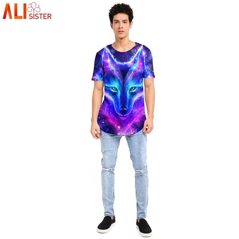 Casuak мужская длинная футболка с принтом летняя модная футболка с круглым вырезом 3d Животный волк Высокая футболка уличная одежда Camiseta Hombre Manga Corta