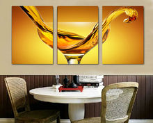 3 panel Wine Glass painting for home decoration picture print paintings Large canvas art cheap with framed free shipping GA461(China)