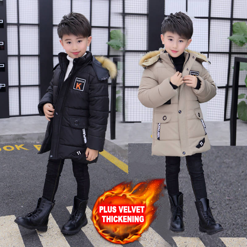 Boy winter coat plus velvet thick cotton jacket in the long section of small cotton clothes children's coat лонгслив printio once upon a time in america однажды в америке