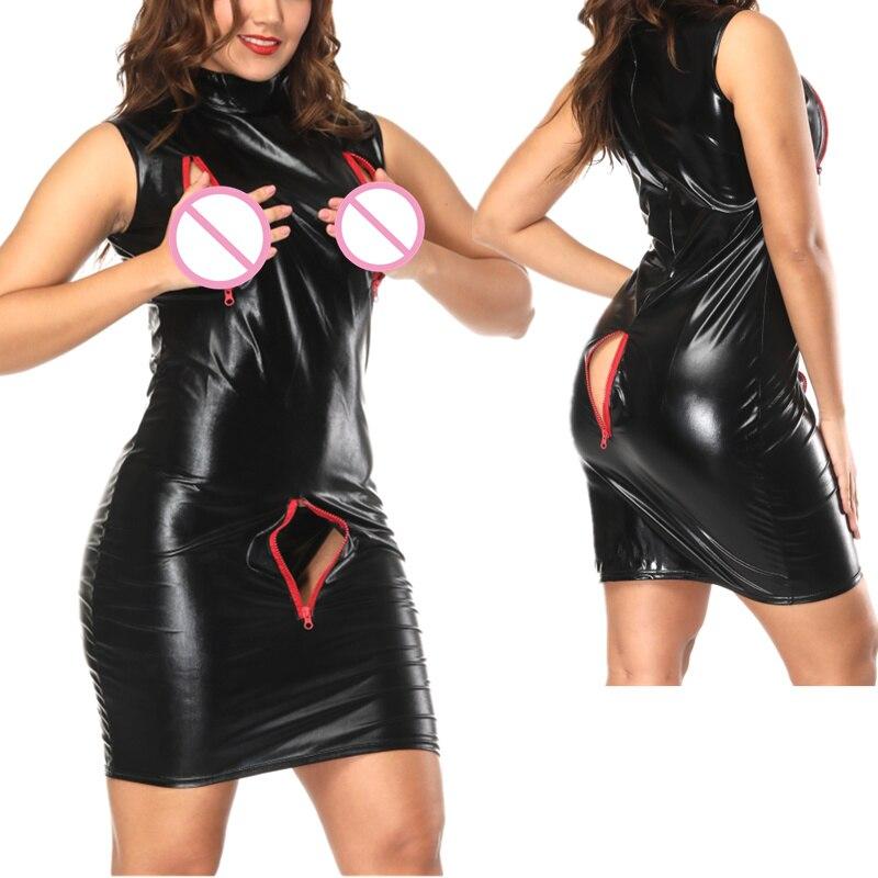 New Sexy Black Erotic Open Bra Crotch Faux Leather Bodycon Dress With Zipper Women Vinyl Sleeveless Sexy Nightclub Tight Dress