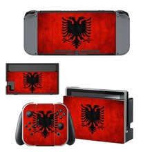 Albania National Flag Decal Vinyl Skin Sticker for Nintendo Switch NS Console + Controller + Stand Holder Protective Film