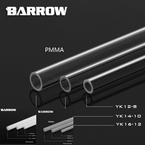 Barrow High quality PMMA 500mm 8*12mm/10*14mm/12*16mm water cooling tube / pipe  water cooling system use. barrow pmma ddc pump integration reservoir mod kit pbtt ytw