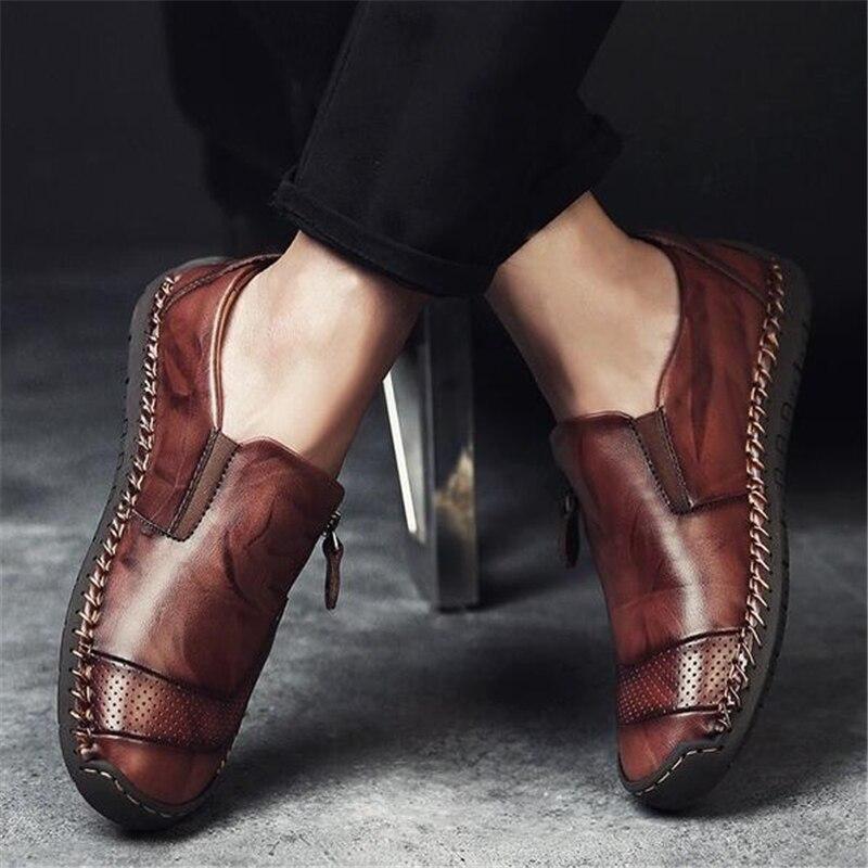 Mocassins Paresseux Sur Automne Male Casual Printemps Appartements Chaussures Noir En marron Hommes Plat Mode Slip Cuir Véritable orange 8wAxnBA6qz