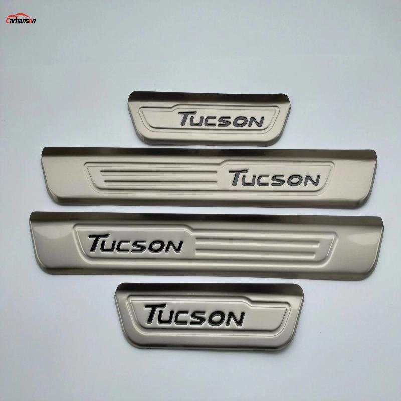 Bilstyling för Hyundai Tucson 2017 tillbehör Rostfritt stål Dörrfönster Skrovplatta Dörrpedal Skydd Cover Sticker 2016 2018
