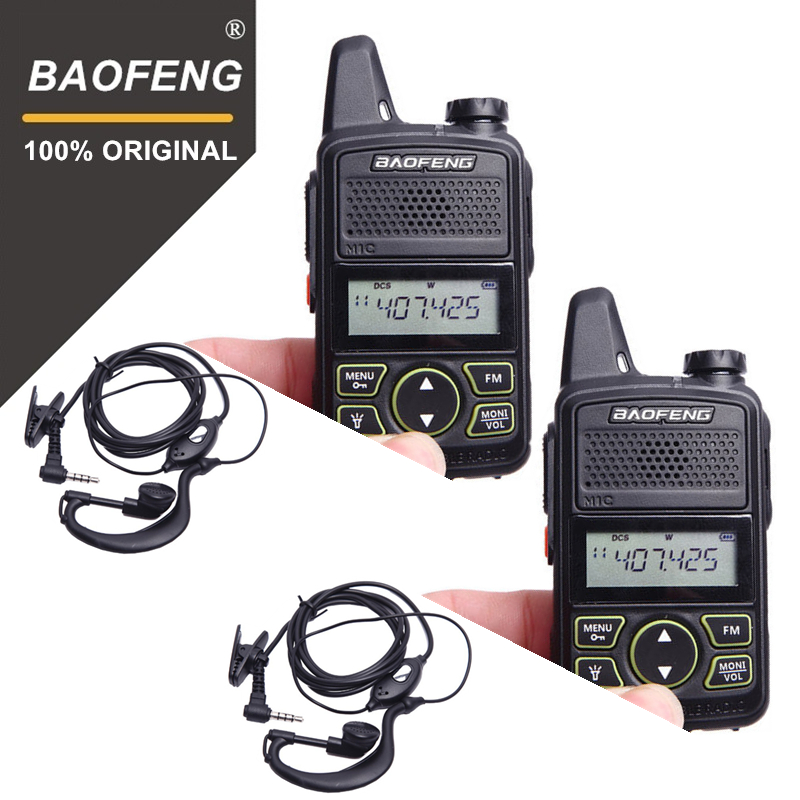 100% 2 stücke BAOFENG BF-T1 MINI Kids Walkie Talkie UHF Tragbare Zwei Way Radio FM Funktion Schinken T1 Walkie Talkie USB HF Transceiver