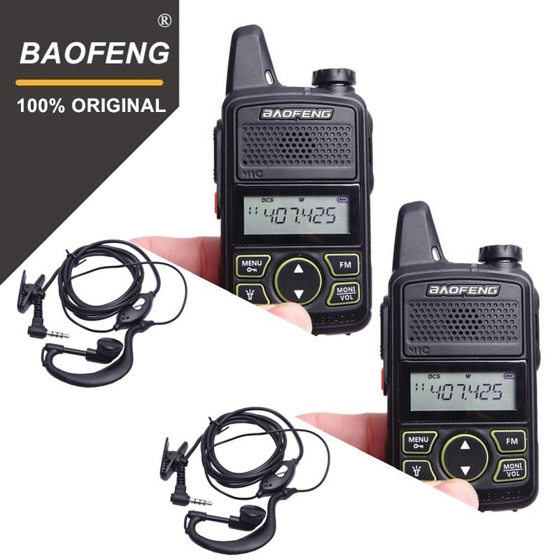100% 2pcs BAOFENG BF-T1 MINI Kids Walkie Talkie UHF Portable Two Way Radio FM Function Ham T1 Walkie Talkie USB HF Transceiver