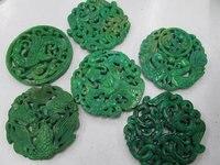 Toptan 6 adet 70mm Antik Yeşim Kolye el yapımı Nadir Hayvan kelebek Yeşil Çeşitler odak boncuk -- çift oyma