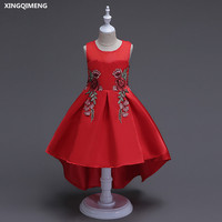 In Stock High Low Red Flower Girl Dresses Bow 3 14Y Pink First Holy Communion Dresses